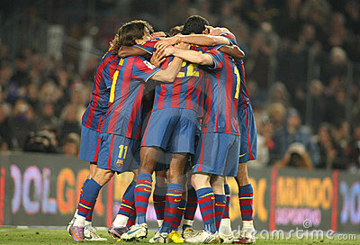 Players group of FC Barcelona Editorial Photography