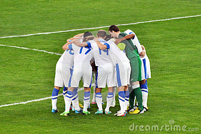 Players hug on the field Editorial Image
