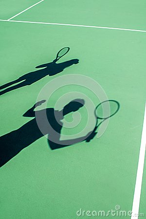 Free Players Shadows On The Tennis Court Royalty Free Stock Photo - 45862935