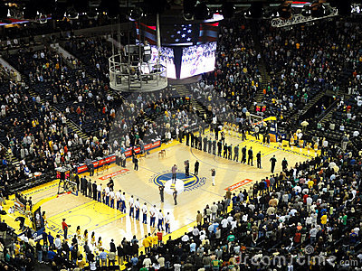 Players stand in lines during National Anthem Editorial Photography