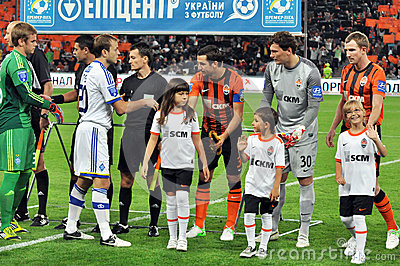 Players of two teams greeting each other Editorial Stock Photo