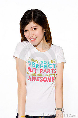 Playful asian girl in casual clothes