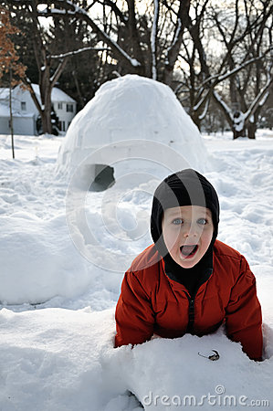 Playful Child and Igloo