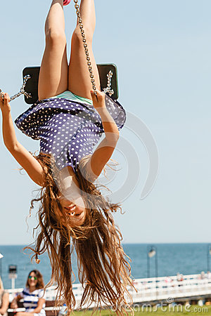Free Playful Crazy Girl On Swing. Stock Photography - 85262962