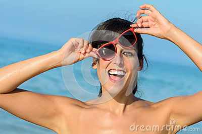 Playful Funny Young Woman Joking And Teasing Summer Beach Fun