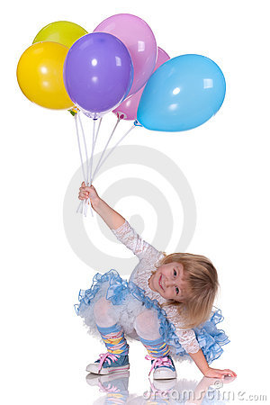 Playful girl with baloons
