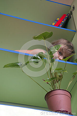 Playful kid hiding behind the plant on a shelf