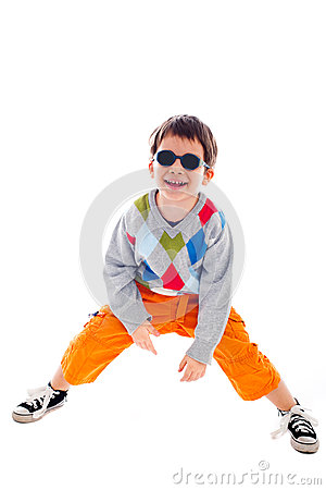 Playful kid wearing sunglasses