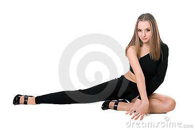 Playful leggy girl