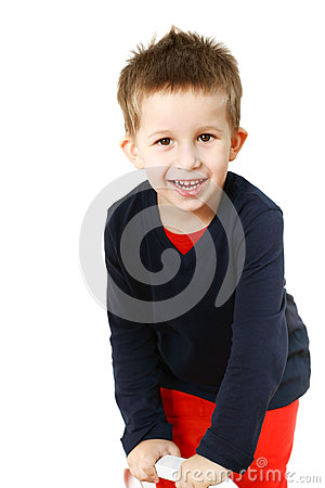 Playful little boy smiling