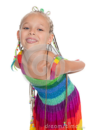 Free Playful Little Girl Shows Tongue Stock Photo - 45722060