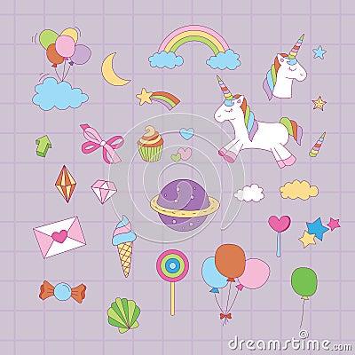 Magical unicorn graphic set Vector Illustration