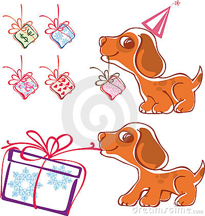 Playful puppy with gifts