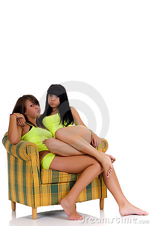 Playful teenager girls