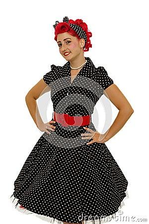 Playful woman in dress