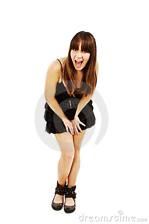 Playful woman excited standing in black dress