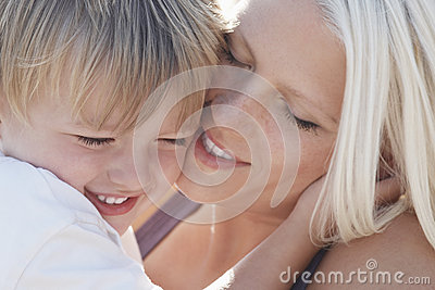 Playful Woman With Son