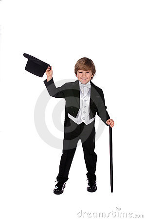 Playful Young Boy In Black Tux Lifting Off His Hat Royalty Free Stock Images - Image: 7586009