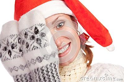 Playful young christmas girl