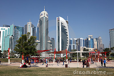 Playground in Doha downtown Editorial Stock Image