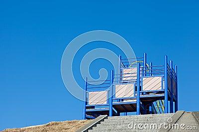 Playground equipment of children s park and blue sky