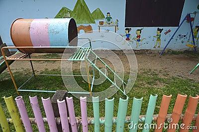 Playground at a school in a village, Nan, Thailand.