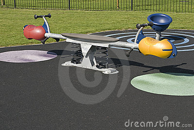 Playground see-saw in residential area