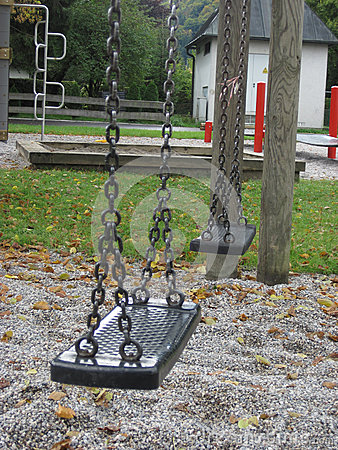 Playground swing set. Selective focus.