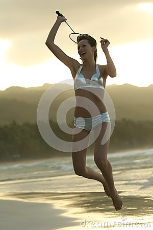 Playing Badminton on the beach