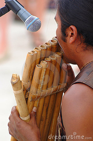 Playing bamboo flute
