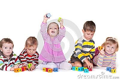Playing blocks in kindergarten