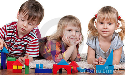 Playing blocks in kindergarten