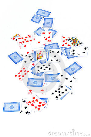 Playing card deck on white