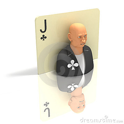 Playing Card: Jack of Clubes with reflection