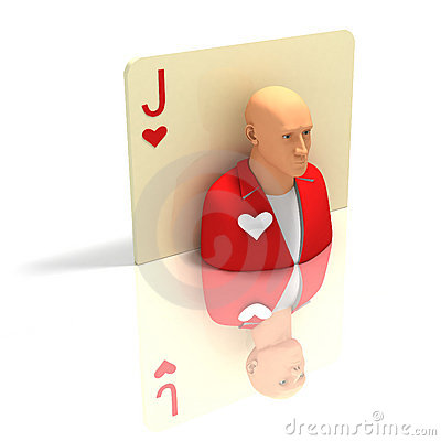Playing Card: Jack of Hearts with reflection
