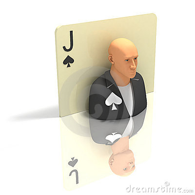 Playing Card: Jack of Spades with reflection