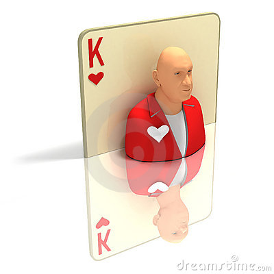 Playing Card: King of Hearts with reflection