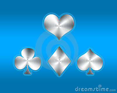 Playing card symbols on blue background