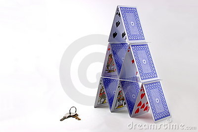 Playing card tower and keys