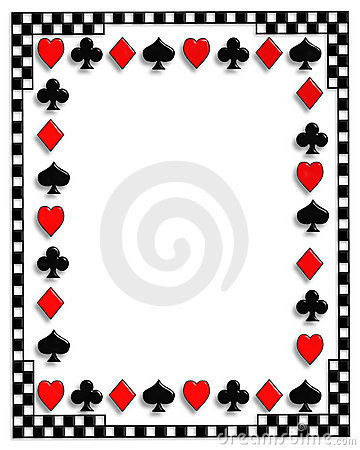Playing Cards border Poker suits