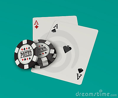 Playing cards, poker chips