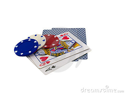 Playing Cards with Poker Chips on White