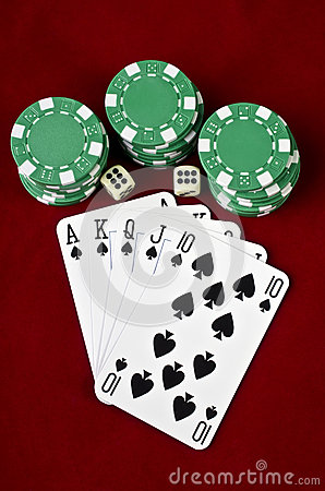 Free Playing Cards (Royal Flush), Casino Chips And Dices Stock Photography - 29365532