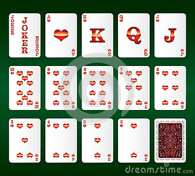 Playing cards vector. All the Hearts