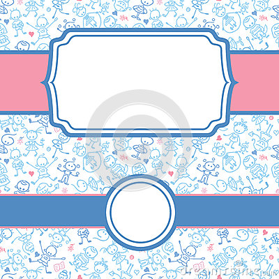 Playing children frame seamless pattern background