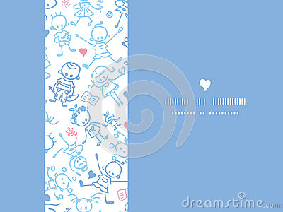 Playing children horizontal seamless pattern