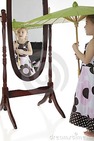 Free Playing Dress-up With A Mirror Stock Images - 24173104
