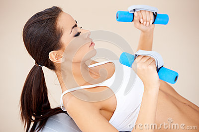 Playing with dumbbells