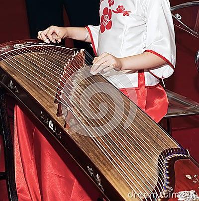 Playing guzheng