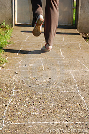 Playing hopscotch